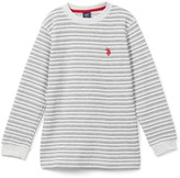 U.S. Polo Assn. Boys' Tee Shirts OATMEAL - Oatmeal Heather Stripe Thermal Long-Sleeve Tee - Boys