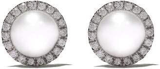 Yoko London 18kt white gold Classic Freshwater pearl and diamond stud earrings