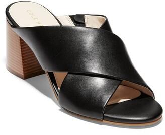 Cole Haan Dakota Leather Crisscross Block Heel Sandal