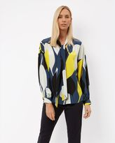 Jaeger Silk Graphic Floral Blouse