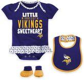 NFL Minnesota Vikings 3-Piece Girl Creeper, Bib, and Bootie Set