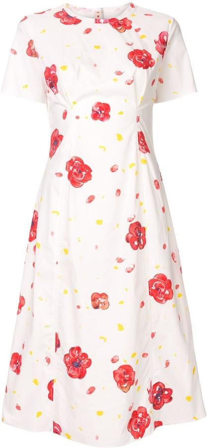 Marni printed pintuck midi dress