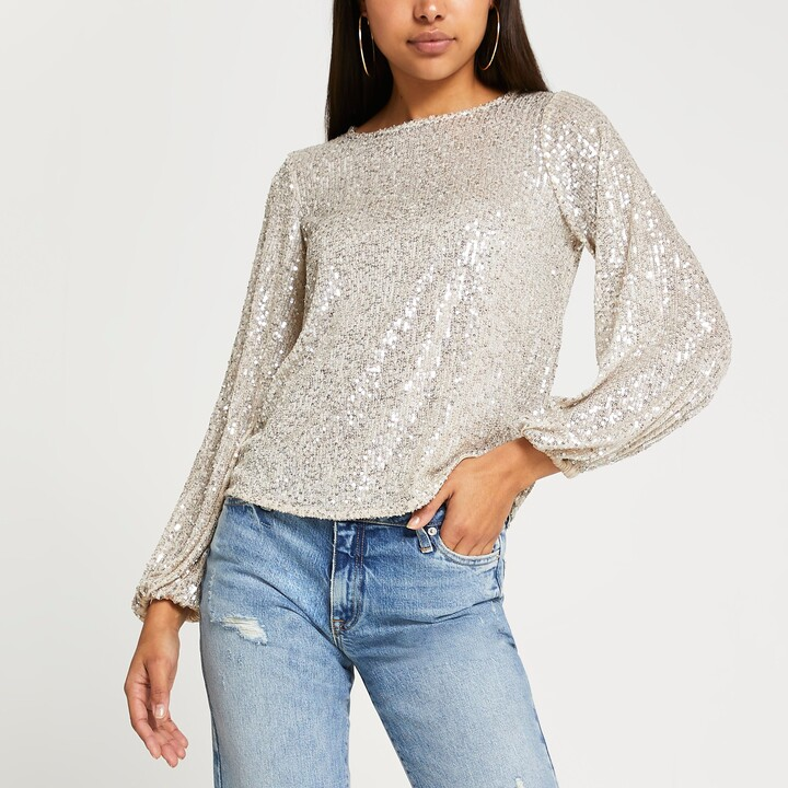 Thumbnail for your product : River Island Womens Silver long sleeve sequin top