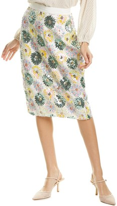 J.Crew Sequin Daisy Medallion Pencil Skirt