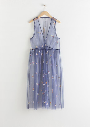 And other stories Sheer Embroidered Tulle Midi Dress
