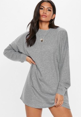 Missguided Tall Gray Oversized Sweater Dress