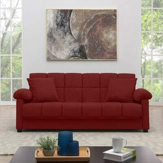Andover Mills Minter Sofa Bed 89 inches Pillow top Arms Fabric: Crimson Red Microfiber
