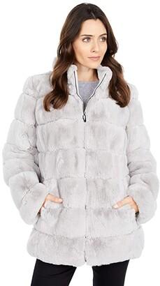 Via Spiga Reverisble Stand Collar Faux Fur Coat (Light Grey) Women's Clothing