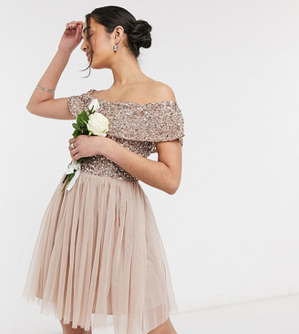 Maya Bridesmaid bardot mini tulle dress with tonal delicate sequin in taupe blush