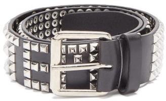 Vetements Studded-logo Leather Belt - Black Silver