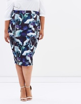 Pencil Skirt in Palm Print