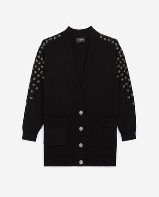 The Kooples Black cashmere/wool cardigan with embroidery