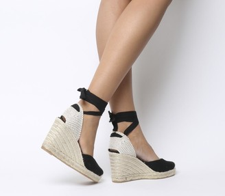 Office Marmalade Espadrille Wedges Black Canvas