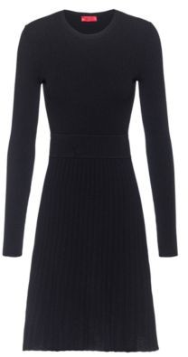 HUGO BOSS Slim-fit knitted dress with contrast waistband
