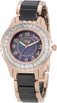 Burgi Women's BUR066BKR Ceramic Bracelet Baguette Quartz Watch