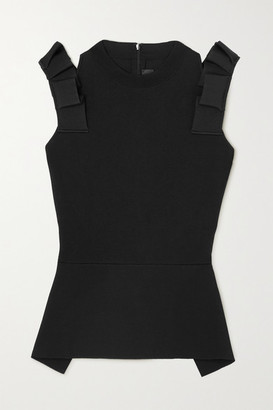 Roland Mouret Summerhill Cold-shoulder Ruffled Stretch-knit Peplum Top - Black