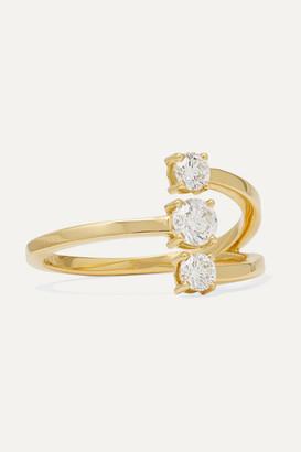 Melissa Kaye Aria Moon Small 18-karat Gold Diamond Ring
