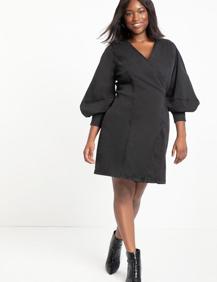 ELOQUII Full Sleeve A-Line Denim Dress