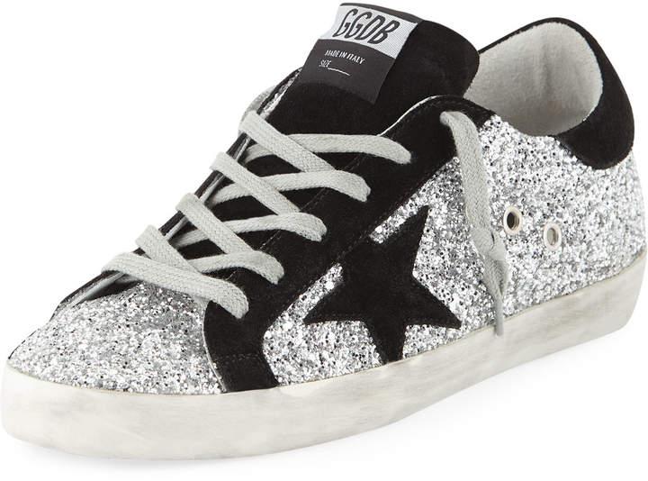 Golden Goose Superstar Glittered Platform Sneakers