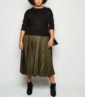 New Look Curves Satin Pleated Midi Skirt