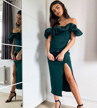 True Violet exclusive scrunchie bardot midi dress with thigh slit in emerald green