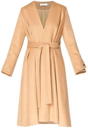 Paisie A-Line Collarless Coat With Cuff Details (With Self Belt) In Sand