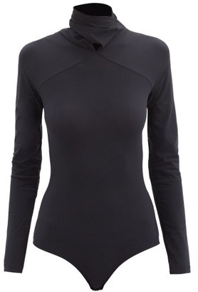 MM6 MAISON MARGIELA Cowl-neck Jersey Bodysuit - Black