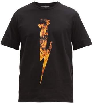Neil Barrett Firebolt Cotton T-shirt - Mens - Black