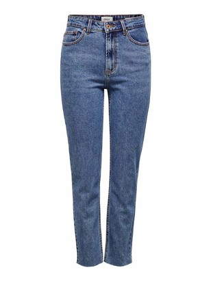 Only Women's Onlemily Hw St Raw JNS Db Mae 0005 Noos Straight Jeans