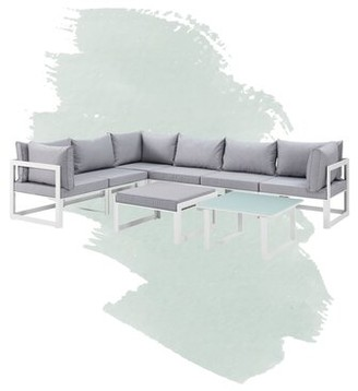 Annemarie Outdoor Patio 8 Piece Sectional Seating Group with Cushions Foundstone Frame Finish: White, Cushion Color: Gray