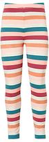 John Lewis Girls' Stripe Print Leggings, Pink/Multi