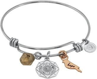 """LovethisLife """"Hope"""" Two-Tone Flower Agate Bead Bangle Bracelet"""