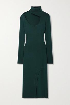 Monse Cutout Merino Wool Turtleneck Midi Dress - Forest green