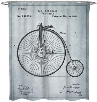 "Oliver Gal Mckenzie Velocipede, 1881, Gray"" Shower Curtain, 71""x74"""
