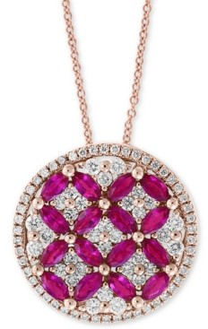 """Effy Amore by Certified Ruby (1-1/2 ct. t.w.) & Diamond (7/8 ct. t.w.) 18"""" Pendant Necklace in 14k Rose Gold"""