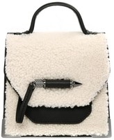 Mackage Rubie-W Leather Sheepskin Crossbody In Black/Cream/Gunmetal