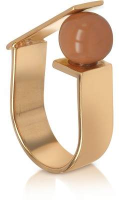Egotique Arlequin Golden Brass Ring w/Nude Glass Pearl