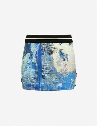 Puma Graphic-print high-waisted stretch-woven mini skirt