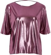 River Island Womens Metallic pink boxy strap back T-shirt