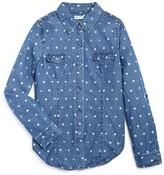 Splendid Girls' Polka Dot Denim Button-Down Shirt - Sizes 7-14