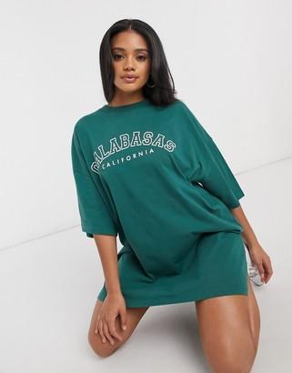 ASOS DESIGN oversized t-shirt dress with calabasas logo in sage green