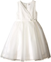 Us Angels Satin Point d' Espirit Sleeveless Pleated Bodice Full Skirt Girl's Dress