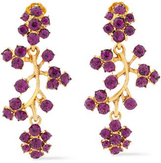 Oscar de la Renta Rose Gold-tone Crystal Clip Earrings