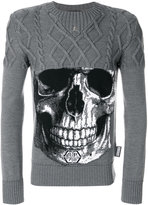 Philipp Plein skull and cable knit sweater