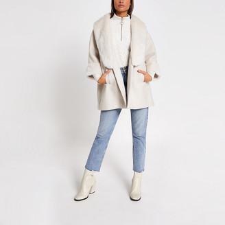 River Island Cream faux fur collar swing coat