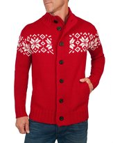 Wool Overs Men's British Wool Zip & Button Nordic Cardigan Extra Extra Large