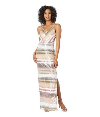 Adrianna Papell Spaghetti Strap Sequin Stripes Evening Gown