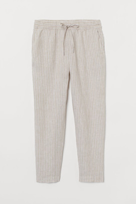 H&M Pull-on Linen Pants - Beige