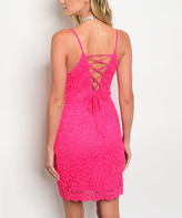 Fuchsia Lace Corset-Back Sleeveless Dress