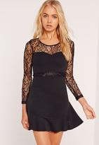 Missguided Frill Hem Lace Long Sleeve Bodycon Dress Black